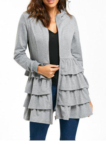 Shops Ruffle Zip Up Hooded Coat - M GRAY Mobile