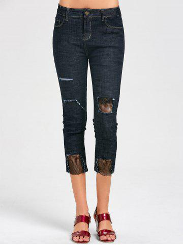Holes Fishnet Panel Capri Jeans Noir Bleu XL