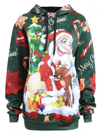 Outfits Plus Size Merry Christmas Elk Santa Claus Hoodie - 2XL GREEN Mobile