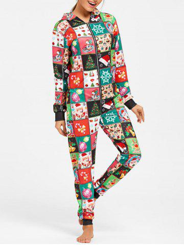 New Hooded One Piece Christmas Pajama - L COLORMIX Mobile