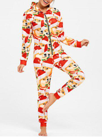 Fashion 3D Doge Face Christmas One Piece Pajama COLORMIX M