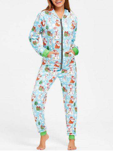 Discount Snowman One Piece Christmas Pajama - M COLORMIX Mobile
