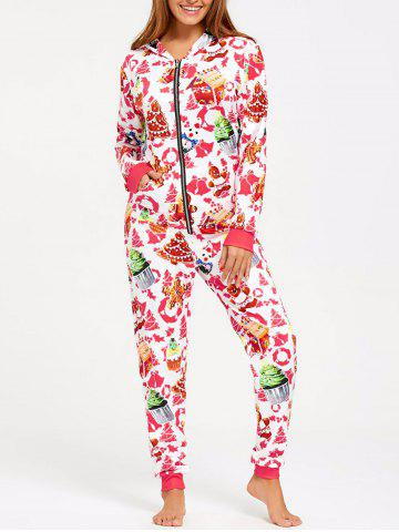 Unique Hooded Christmas One Piece Pajama - M COLORMIX Mobile