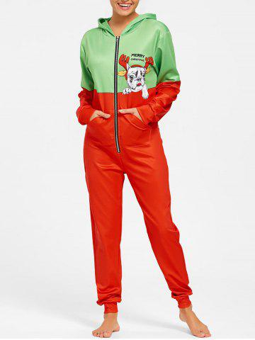 Online Hooded One Piece Christmas Pajama COLORMIX M