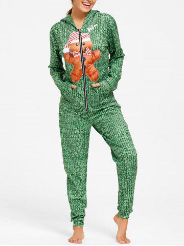 Unique Hooded One Piece Christmas Pajama - M GREEN Mobile