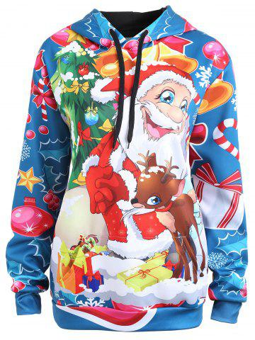 Online Plus Size Christmas Elk Santa Claus Hoodie LIGHT BLUE 3XL