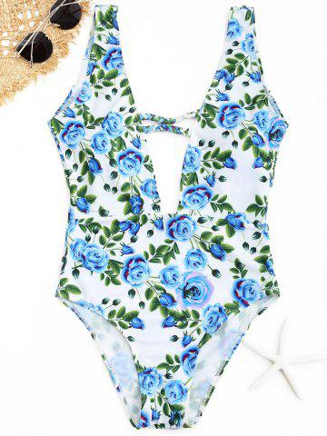 Latest Plunge Floral Swimwear - CLOUDY M Mobile