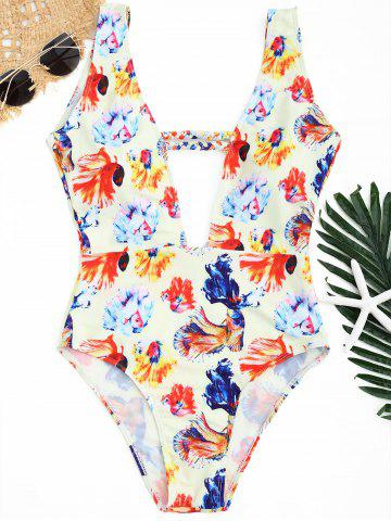 Fashion Plunge Floral Swimwear - L LIMEADE Mobile