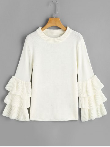 Pull à Manches Volantées Multicouches Blanc TAILLE MOYENNE