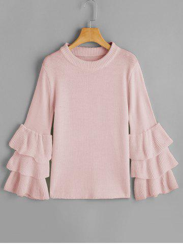 Unique Layered Sleeve Flouncy Pullover Sweater PINK ONE SIZE