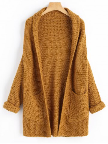 Latest Open Front Curled Sleeve Batwing Cardigan LIGHT COFFEE ONE SIZE