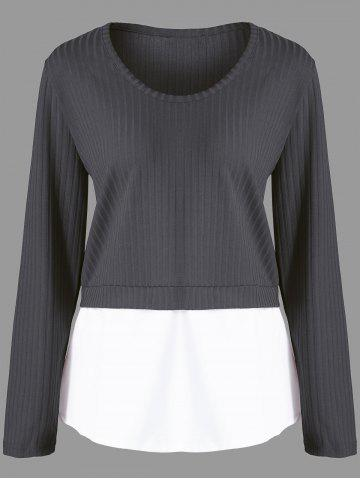 Shops Plus Size Contrast Panel Ribbed Knitted Sweater
