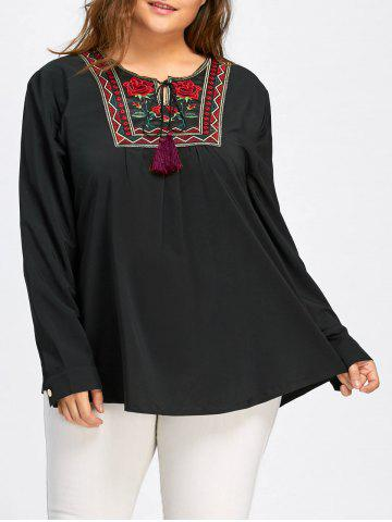 Best Plus Size Notched Smock Embroidered Blouse
