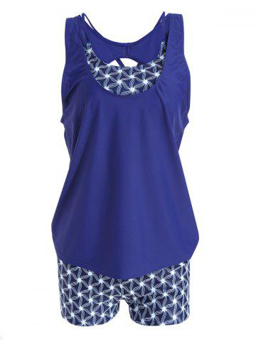 Fashion Strappy Plus Size Print Tankini Set