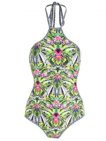 Best One Piece Plus Size Tropical Print Swimsuit