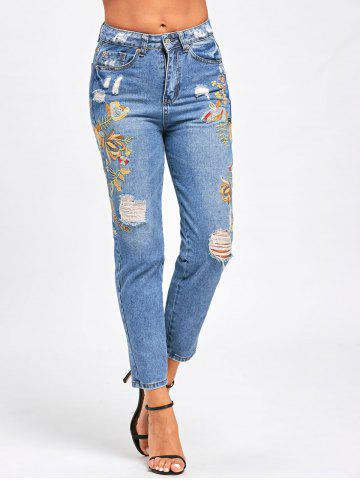 Online Distressed Floral Embroidered Jeans