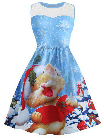 Christmas Cat Snowflake Print Mesh Panel Dress