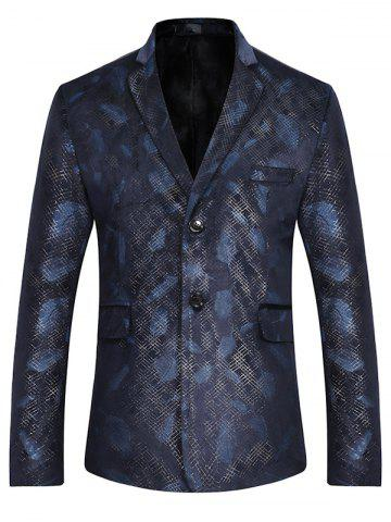 Shop Lapel Feather Print Casual Blazer