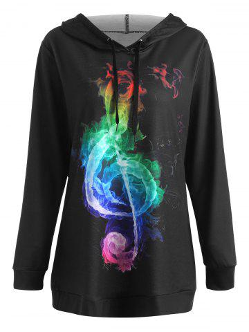 Buy Plus Size Colorful Musical Note Graphic Hoodie