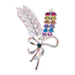 Rhinestoned Faux Opal Bows Brooch - COLORMIX