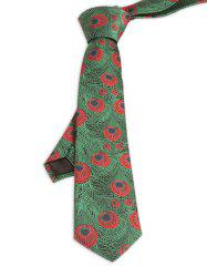 Vintage Peacock Feather Skinny Necktie - GRASS GREEN