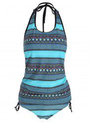 Ensemble Tribal Print Backless Plus Size Tankini -