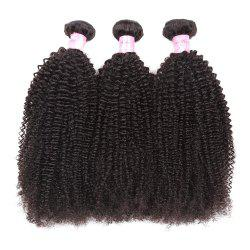 1Pc Shaggy Afro Kinky Curly Peruvian Human Hair Weave - NATURAL BLACK 14INCH