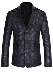 Lapel Feather Print Casual Blazer - RED L