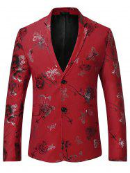 Metallic Butterfly Floral Print Casual Blazer - RED L