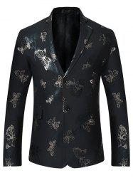 Metallic Butterfly Floral Print Casual Blazer -
