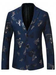 Metallic Butterfly Floral Print Casual Blazer - BLUE S