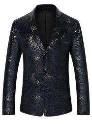 Metallic Brocade Print Casual Blazer - COLORMIX L
