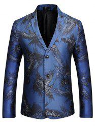 Two-button Eagle Print Casual Blazer - BLUE S
