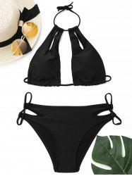 Cut Out Halter Cropped Bikini Set - BLACK S