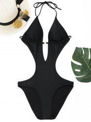 Halter Deep V One Piece Swimwear - BLACK XL