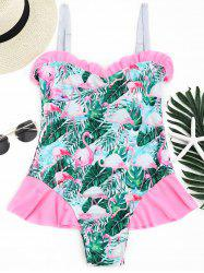 Flamingo Tropical Print Ruffled Swimwear - Multicolore S