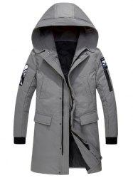 Patch Design Zip Up Hooded Parka Coat -