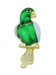 Rhinestone Embellished Parrot Bird Brooch - GREEN