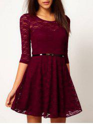 Lace See Thru A Line Dress - WINE RED XL