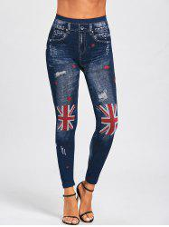 Faux Denim British Flag Print Leggings -