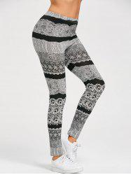 Monochrome Stretchy Leggings - BLACK AND GREY XL