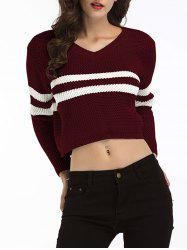 Striped Cropped Sweater - WINE RED ONE SIZE