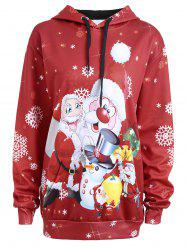 Christmas Snowman Santa Claus Plus Size Hoodie - RED 5XL