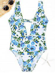 Plunge Floral Swimwear - CLOUDY L
