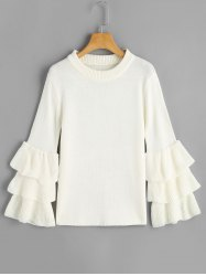 Pull à Manches Volantées Multicouches - Blanc TAILLE MOYENNE