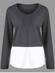 Plus Size Contrast Panel Ribbed Knitted Sweater -