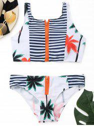 High Neck Striped Tropical Bikini Set -