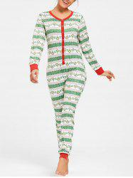 Printed Christmas One Piece Pajama -