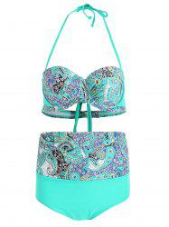 High Waist Print Plus Size Bikini Set -