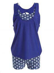 Strappy Plus Size Print Tankini Set -